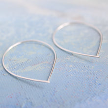 Load image into Gallery viewer, Open Silver Threader Earrings - Teardrop Open Hoop Earring - thin hoop earrings, contemporary jewelry, fish hook hoop