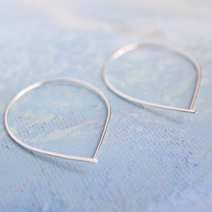 Open Silver Threader Earrings - Teardrop Open Hoop Earring - thin hoop earrings, contemporary jewelry, fish hook hoop