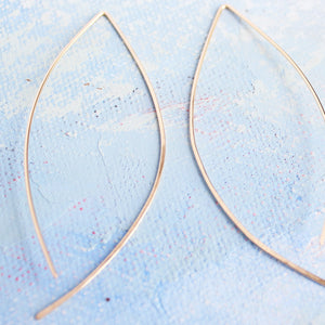 Gold Earrings - Thin Gold Almond Hoops - minimalist jewelry, gold wishbone earrings, thin gold hoop earrings, unique earrings