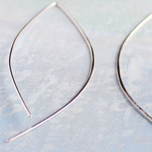 Load image into Gallery viewer, Thin Silver Hoop Earrings - Open Almond Hoops - minimalist jewelry, silver earrings, thin hoop earrings