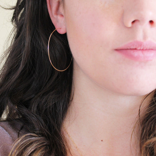 Thin Gold Hoop Earrings - Large Hoop Earrings ( 2