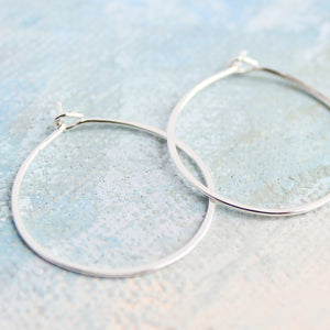 "Silver Hoop Earrings Small Sterling Silver 1"" thin silver hoops"
