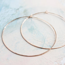 "Load image into Gallery viewer, Rose Gold Hoops, Extra Large Hoop Earrings 2.5"", thin rose gold hoop earings, pink gold earrings, large hoops"