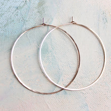 "Load image into Gallery viewer, Thin Rose Gold Hoop Earrings, Large Hoop Earrings 2"" pink gold hoop earings, large rose gold hoops"