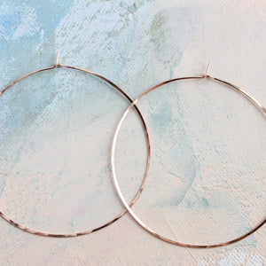 "Rose Gold Hoops, Extra Large Hoop Earrings 2.5"", thin rose gold hoop earings, pink gold earrings, large hoops"