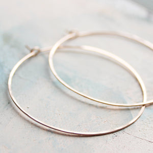 "Thin Rose Gold Hoop Earrings, Large Hoop Earrings 2"" pink gold hoop earings, large rose gold hoops"