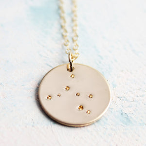 Zodiac Constellation Necklace, Gold Zodiac Necklace, zodiac charm, star sign jewelry, Sagittarius constellation, horoscope jewelry