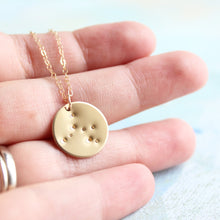 Load image into Gallery viewer, Zodiac Constellation Necklace, Gold Zodiac Necklace, zodiac charm, star sign jewelry, Sagittarius constellation, horoscope jewelry