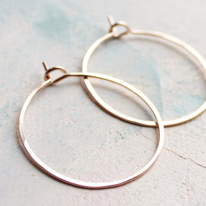 "Small Rose Gold Hoops 1"", Delicate Jewelry, Thin Hoop Earrings"