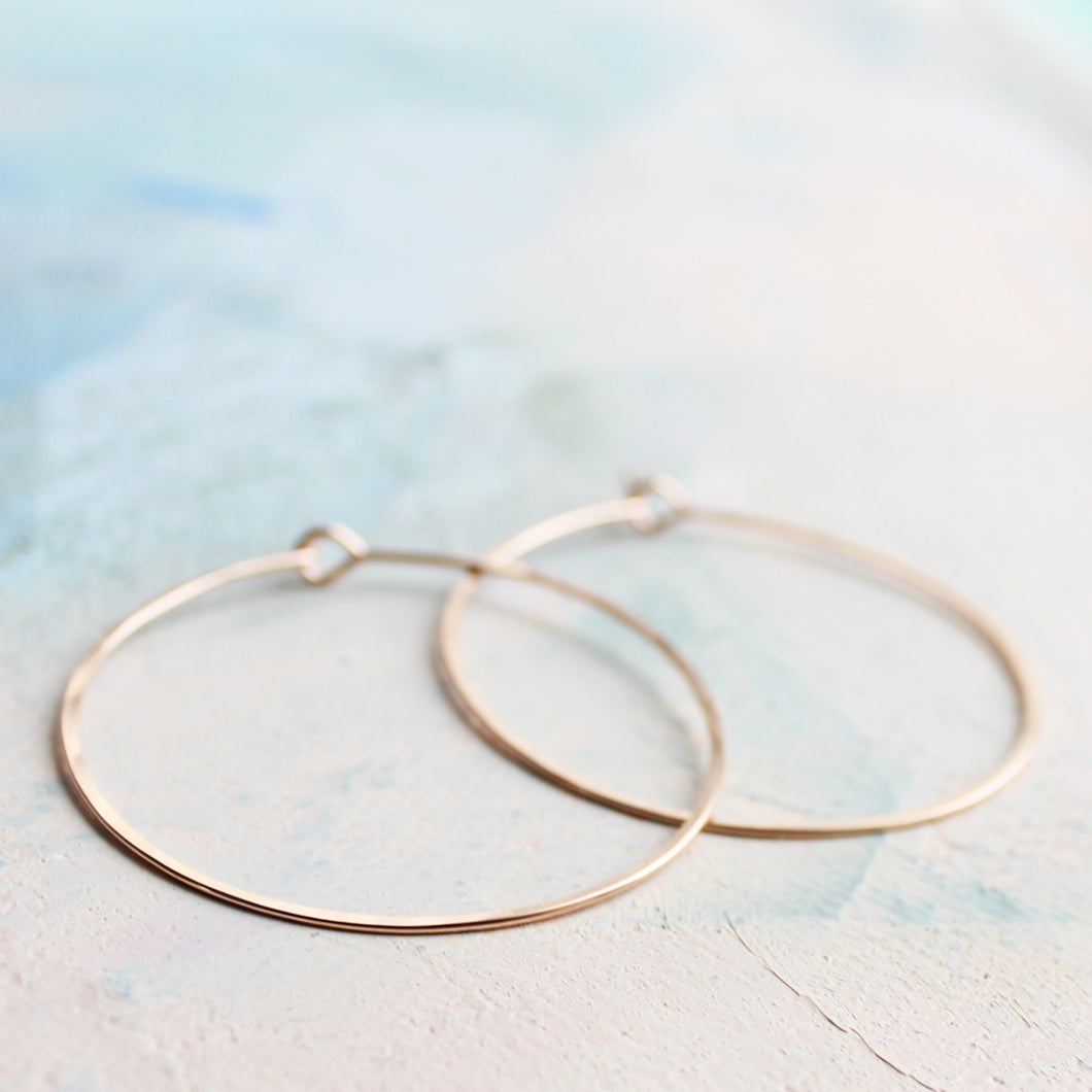 Rose Gold Hoop Earrings - Medium Hoop Earrings ( 1.5