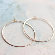 "Load image into Gallery viewer, Rose Gold Hoop Earrings - Medium Hoop Earrings ( 1.5"" ) thin hoop earrings, gold hoop earings, pink gold earrings, hoops"