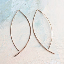 Load image into Gallery viewer, Rose Gold Threader Earrings - Almond Hoops - minimalist jewelry, open hoops rose gold earrings, hook earrings