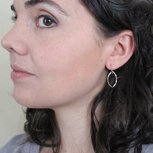 Dangle Earings - Gold Leaf Dangle Earrings (Small) - Gold Earrings Petal with Hammered Texture everyday jewelry