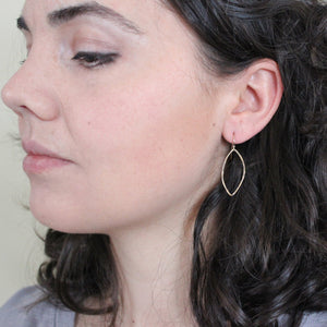 Gold Dangle Earrings - Gold Leaf Dangle Earing (Medium) - Gold Earrings Petal with Hammered Texture everyday jewelry