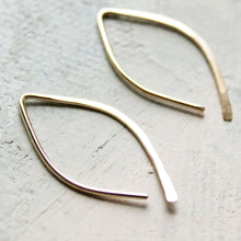 Load image into Gallery viewer, Gold Earrings - Almond Hoops (SMALL) - minimalist jewelry, gold hoop earrings, thin gold hoop earrings. open hoop, leaf earrings