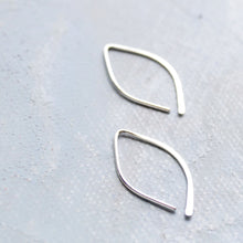 Load image into Gallery viewer, Open Hoop Earrings in Silver Almond Shape (SMALL) - Thin Silver Hoop Earrings - minimalist jewelry, silver earrings, sterling silver hoops