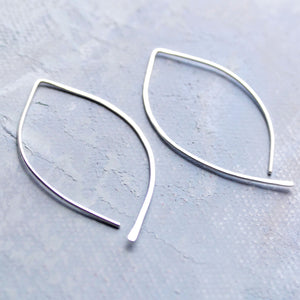 Silver Open Hoop Earrings - Open Almond Hoops (MEDIUM)- minimalist jewelry, silver earrings, thin hoop earrings, leaf earring
