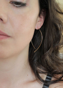 Thin Gold Open Hoop Earrings - Almond Hoops - minimalist jewelry, gold earrings, thin gold hoop earrings
