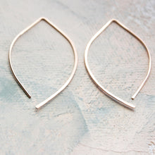 Load image into Gallery viewer, Rose Gold Threader Earrings, Open Hoop Rose Gold, medium almond earring, minimalist jewelry, wishbone