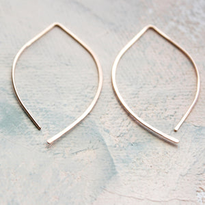 Rose Gold Threader Earrings, Open Hoop Rose Gold, medium almond earring, minimalist jewelry, wishbone