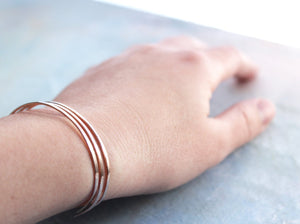 Rose Gold Cuff Bracelet Set of Three , thin rose gold bangles, rose gold bracelet trio, adjustable rose gold bangle bracelet, gold jewelry