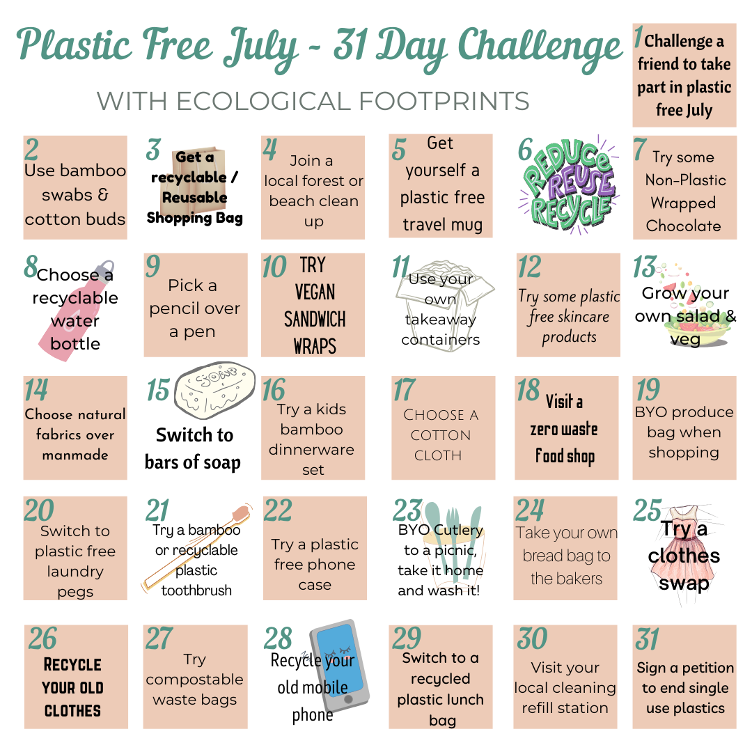 Plastic Free July Challenge | Plastic Reduction | Use Less Plastic | Ecological Footprints UK