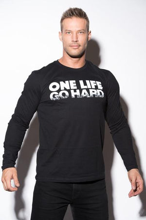One Life Go Hard - Mens - Long Sleeve Tee Shirt (XL, XXL)