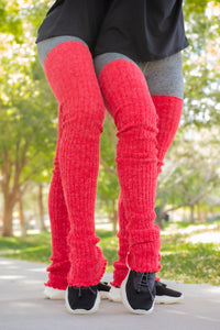 Thigh High Leg Warmers - Red