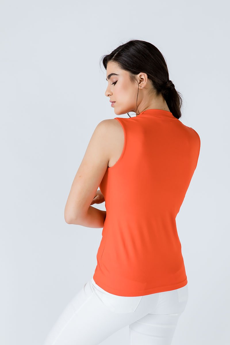 V Neck Sleeveless Orange Top - Manifest Best Boutique