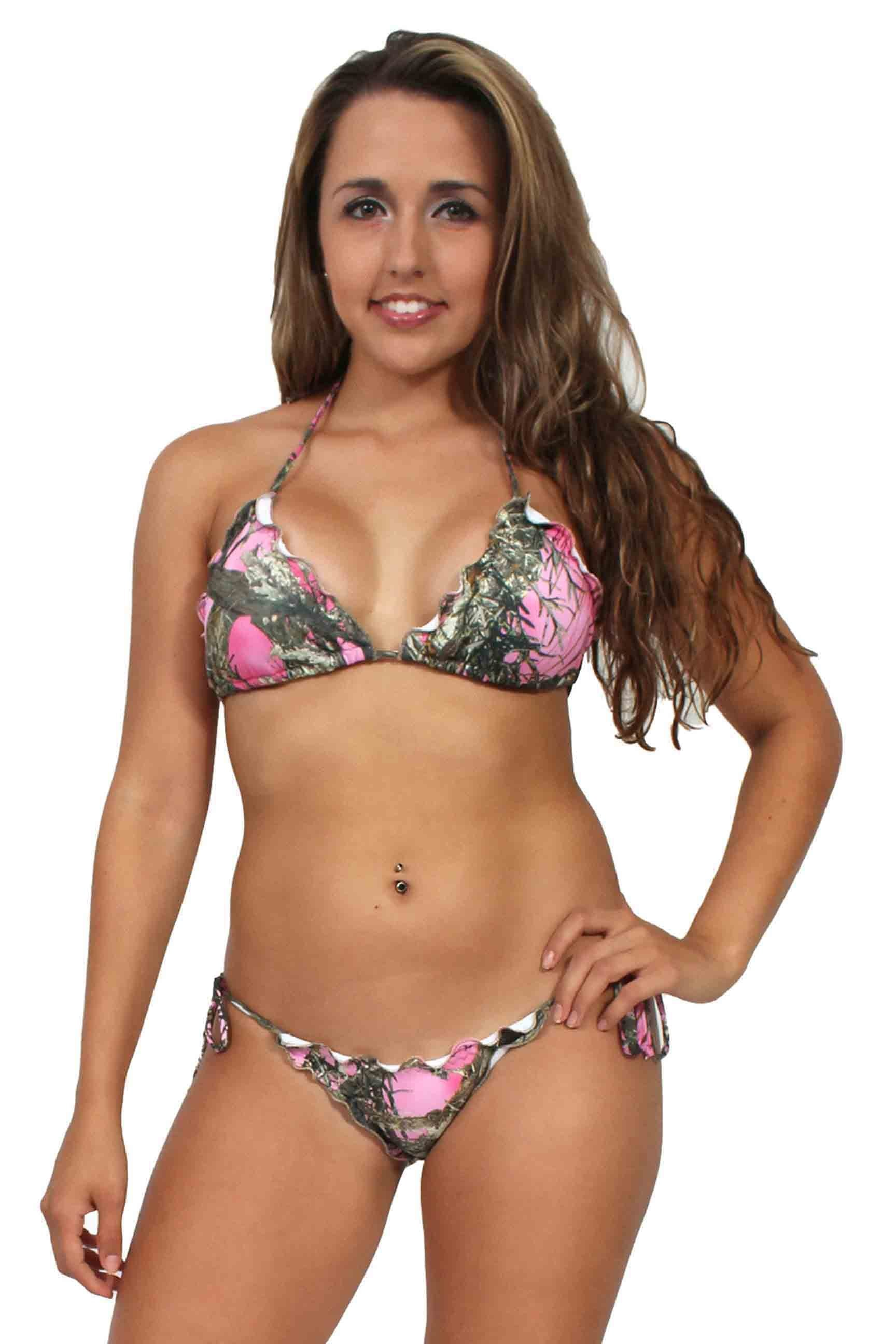 Women's Camo Bikini True Timber Ruffled Swimsuit: PINK Made in the USA - Manifest Best Boutique