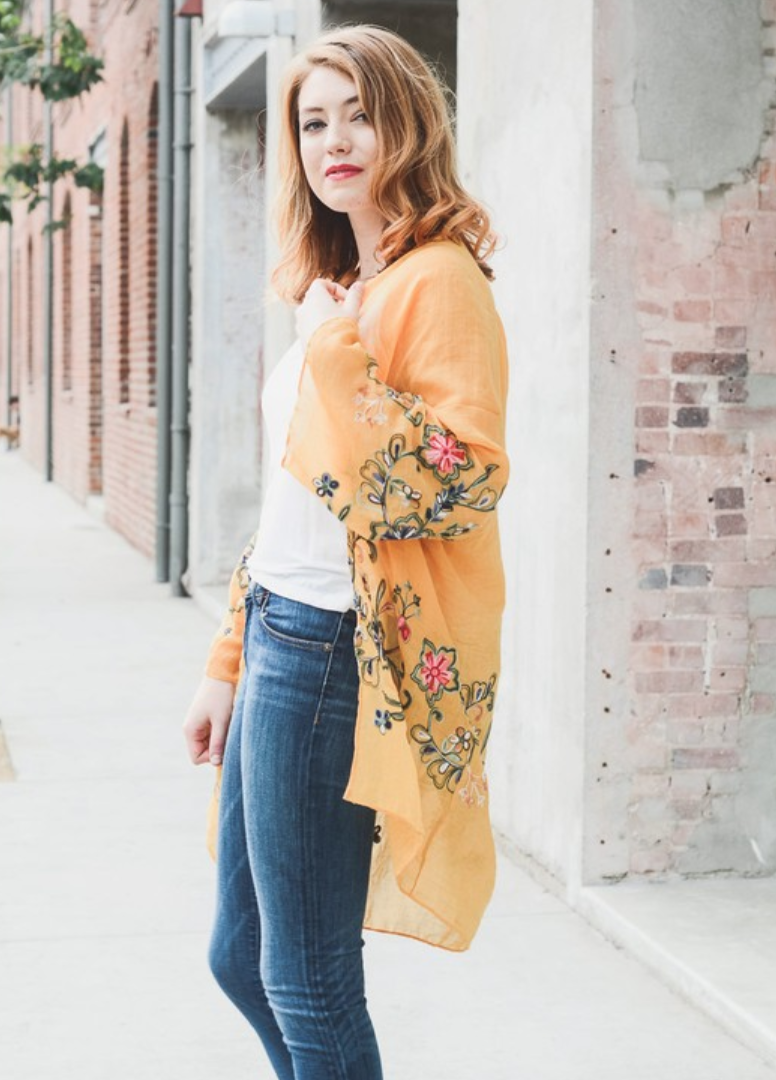 Beautiful Long Mustard Floral Kimono - Manifest Best Boutique