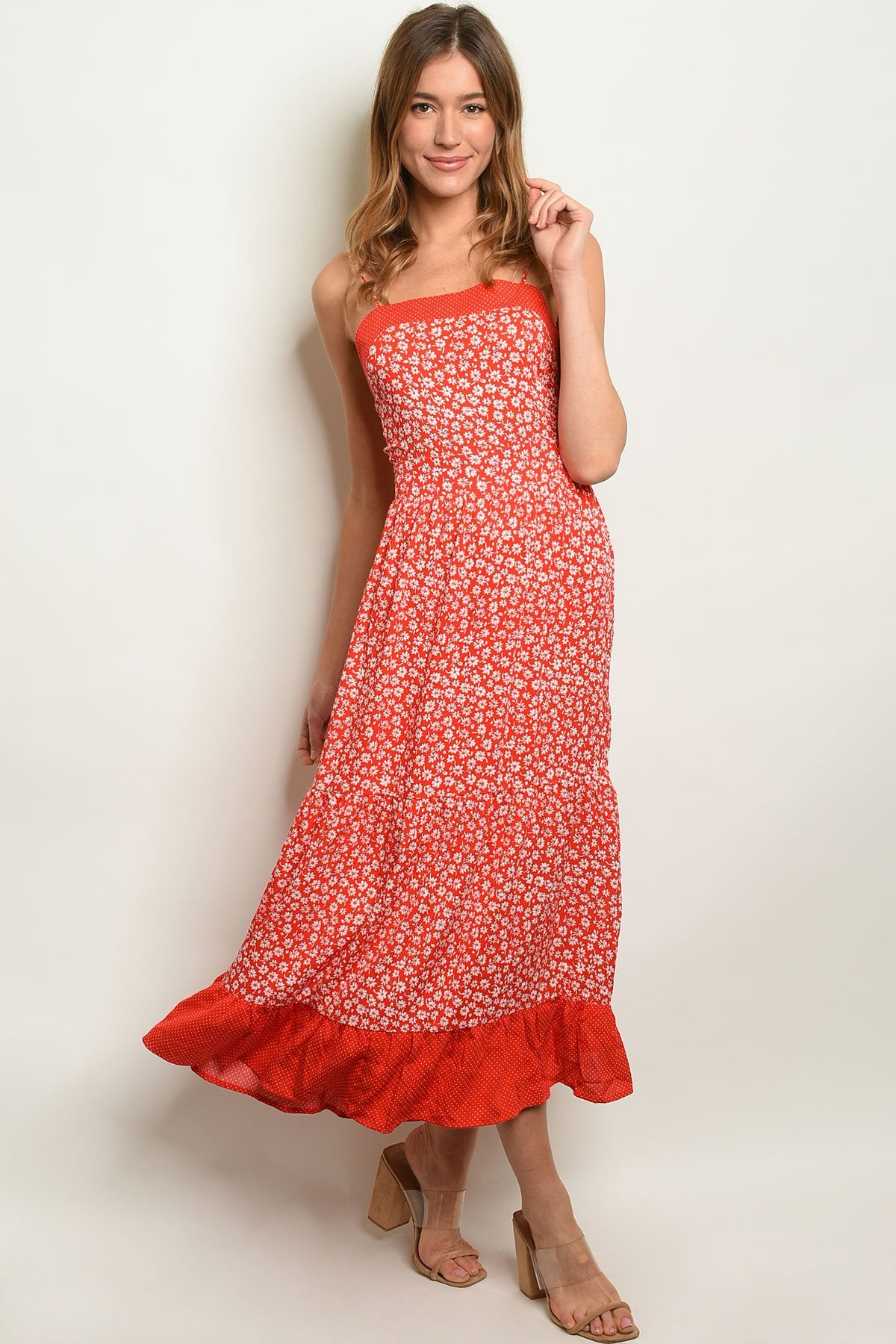 Red Ivory With Flowers Dress - Manifest Best Boutique
