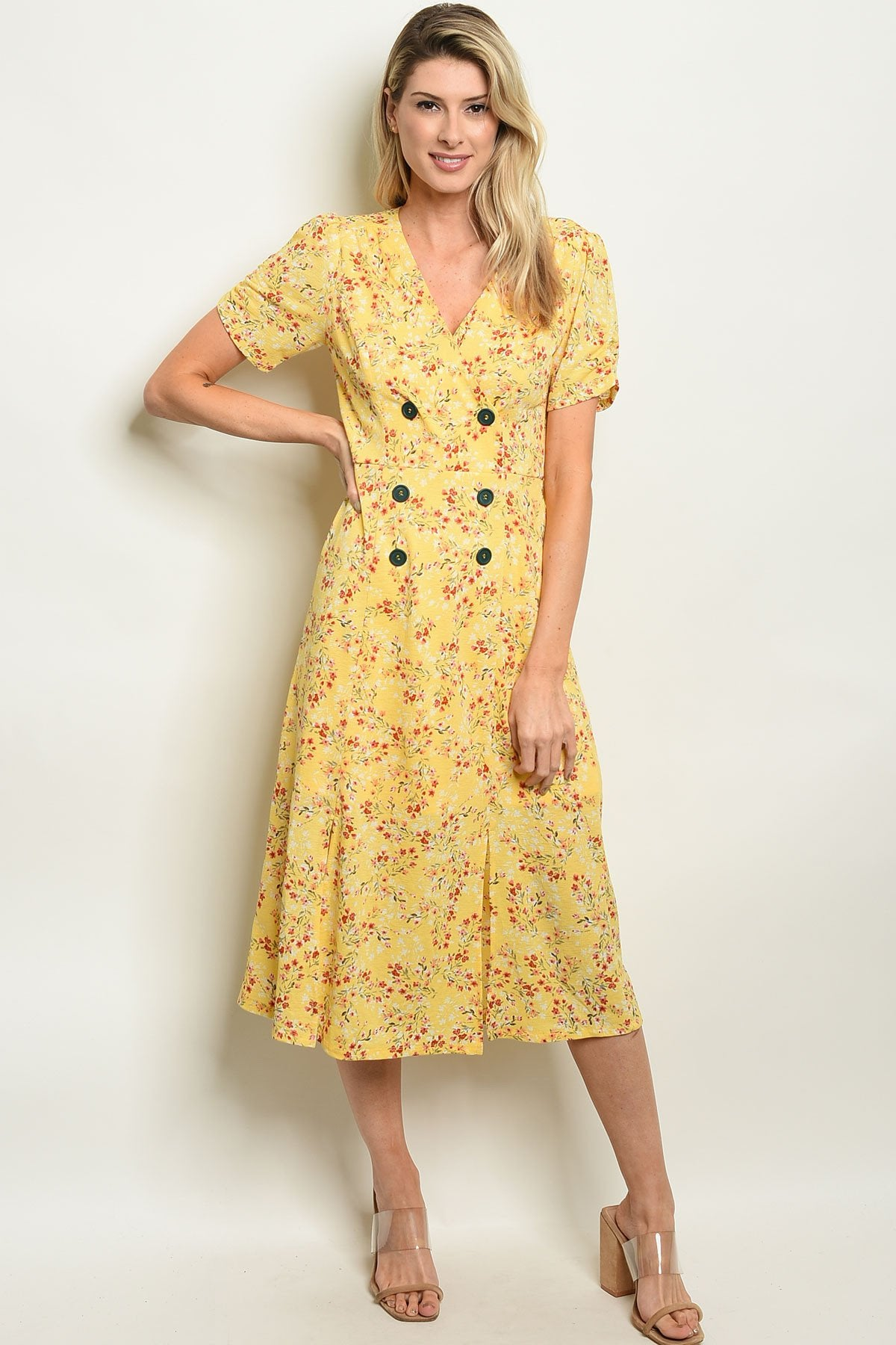 Yellow Floral Dress - Manifest Best Boutique