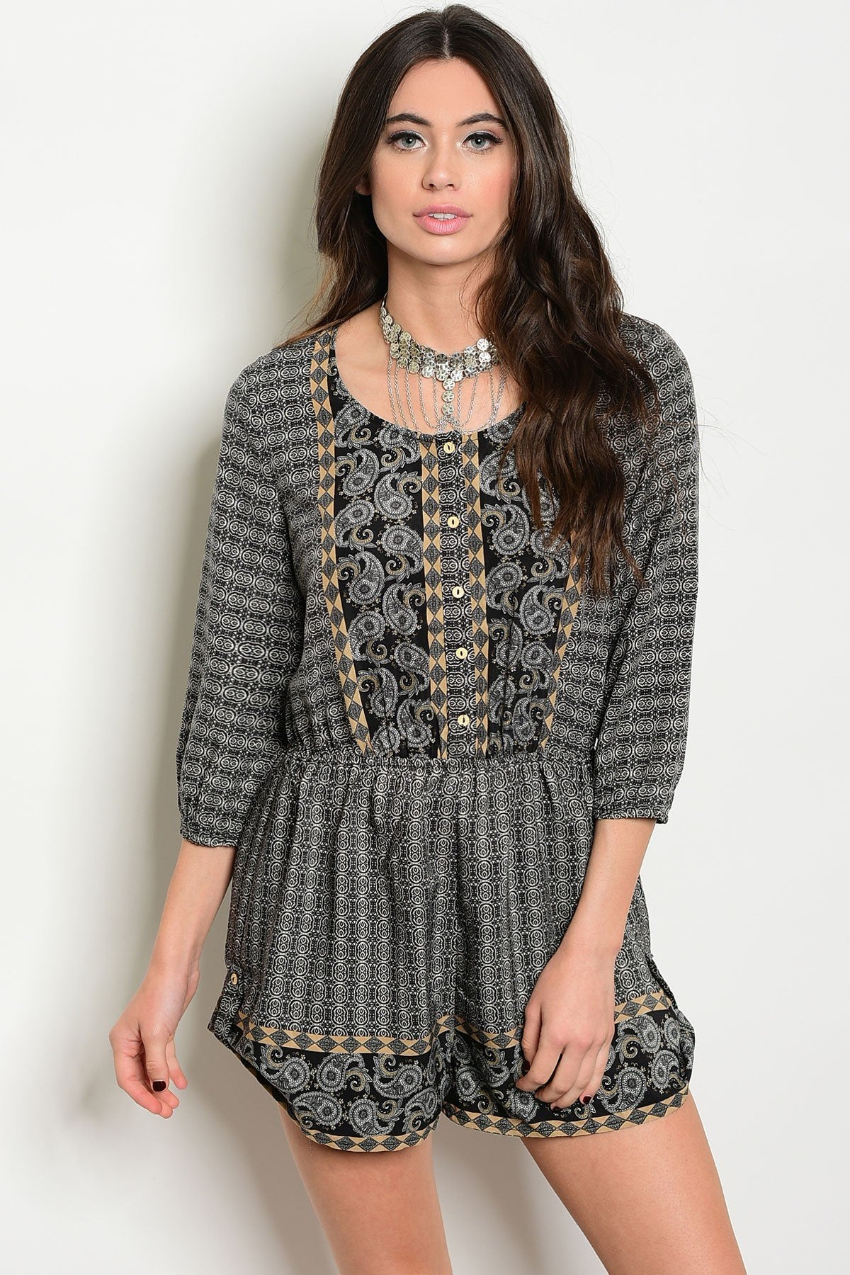 Womens Printed Romper - Manifest Best Boutique