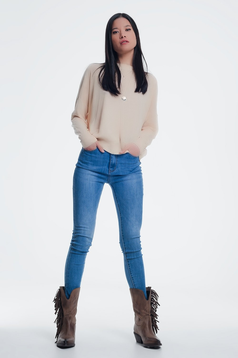 High Waisted Skinny Jeans in Light Denim - Manifest Best Boutique