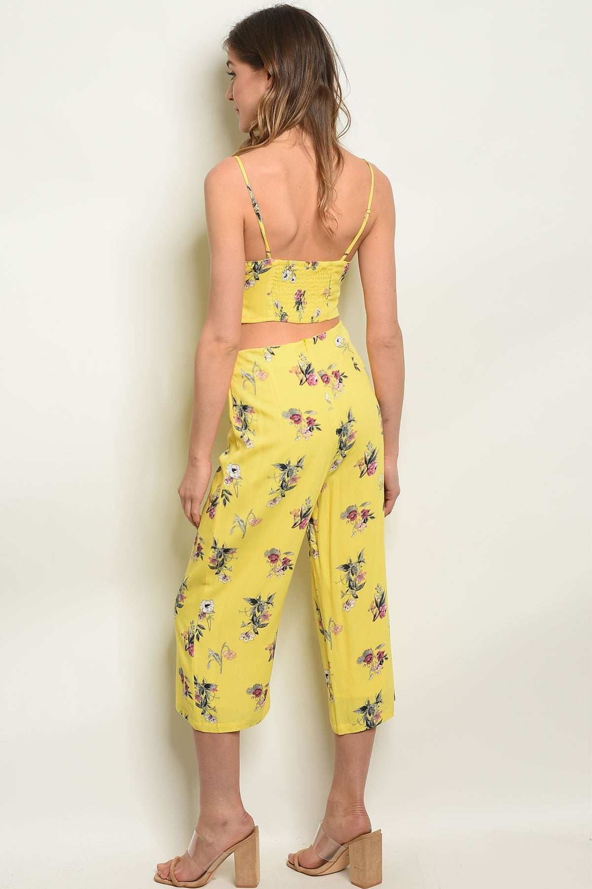 Womens Yellow Floral Top & Pants Set - Manifest Best Boutique