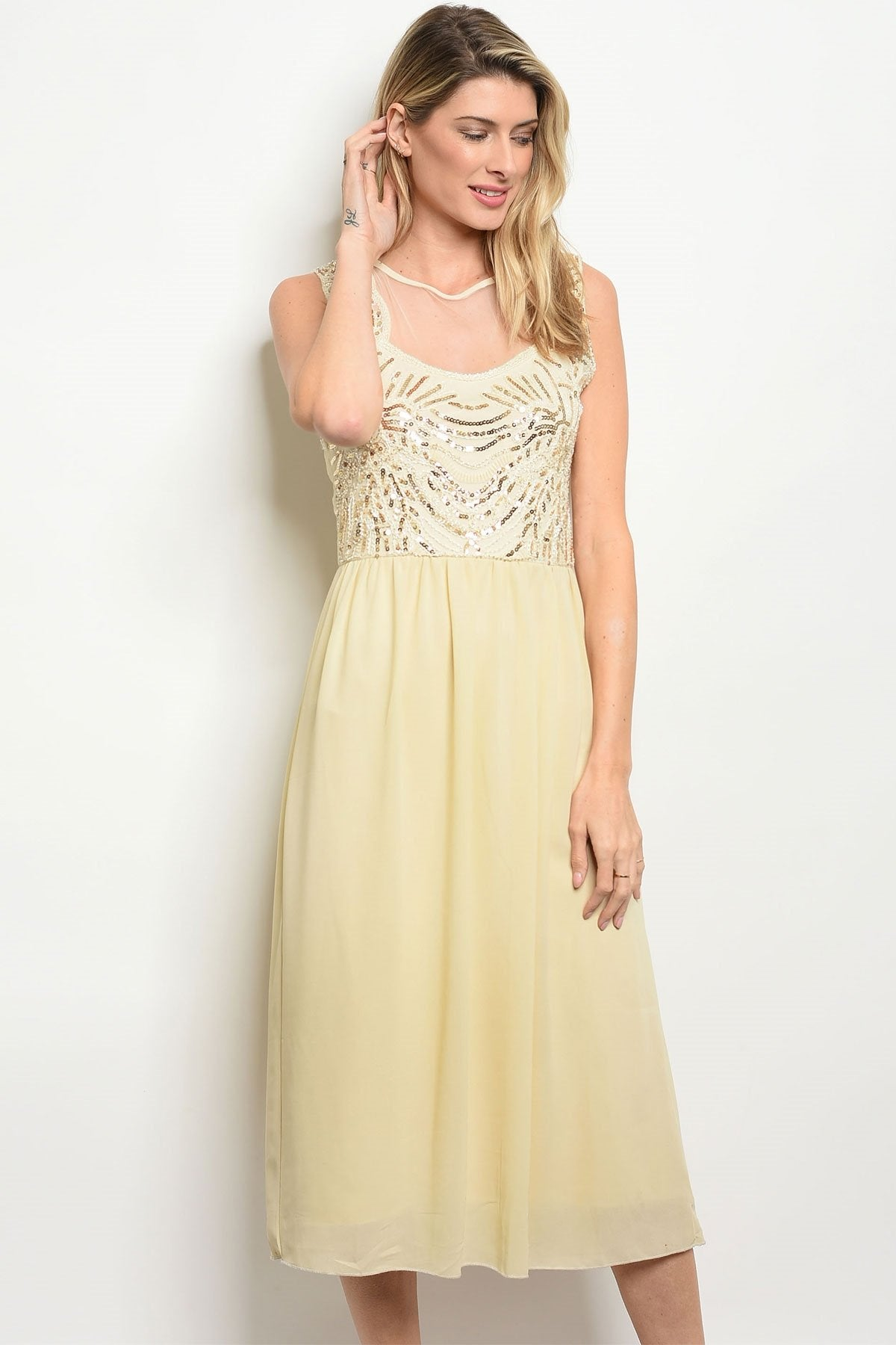 Womens Tan Gold With Sequins Dress - Manifest Best Boutique