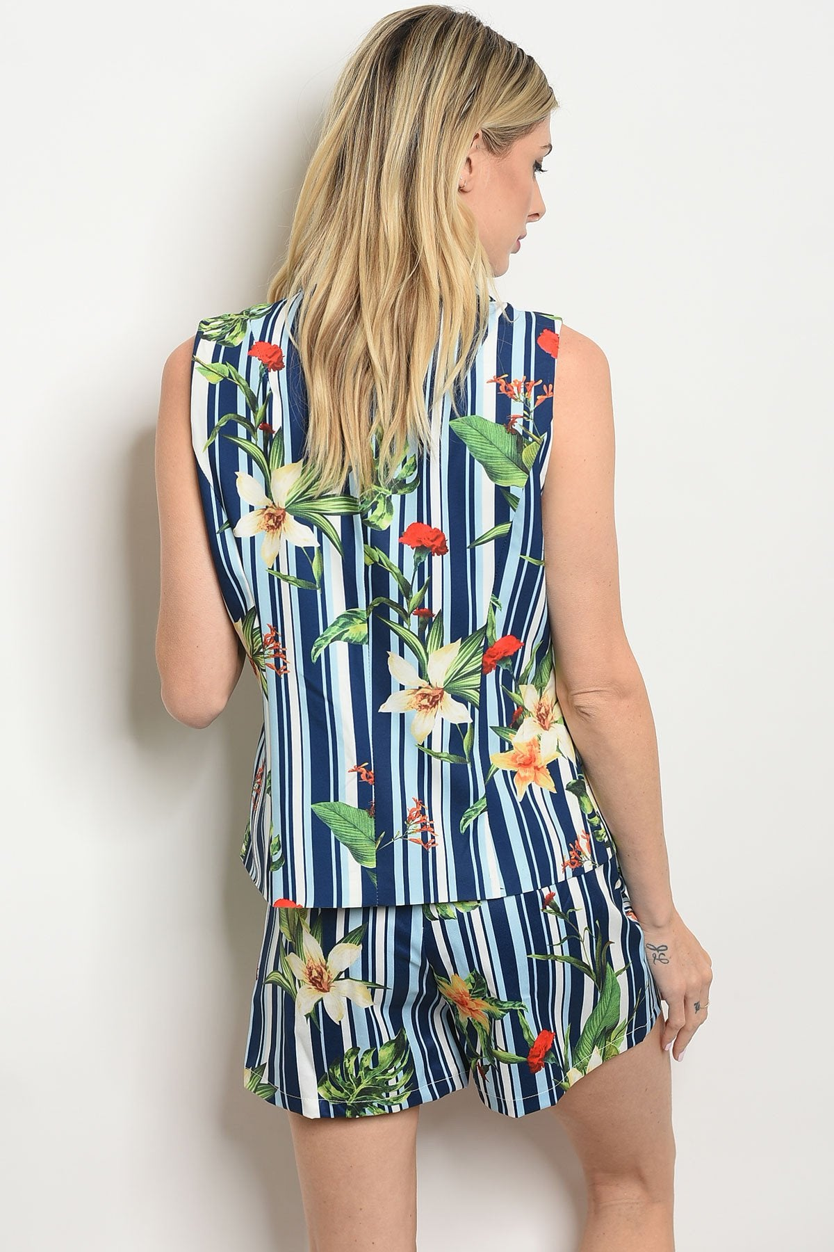 Womens Stripes Floral Vest & Short Set - Manifest Best Boutique