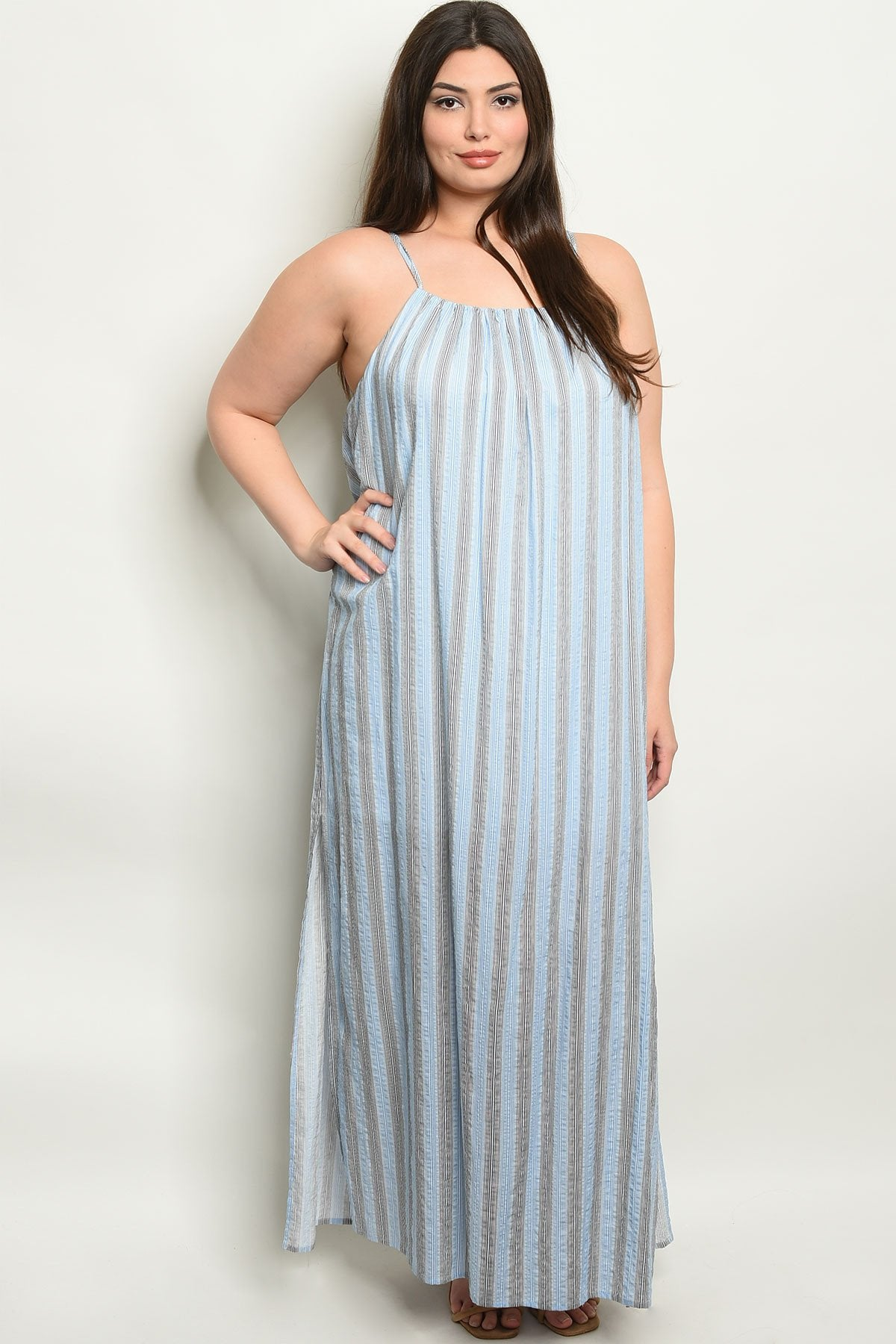 Blue Stripes Plus Size Dress - Manifest Best Boutique
