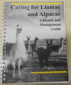 Spiral bound book about llama care