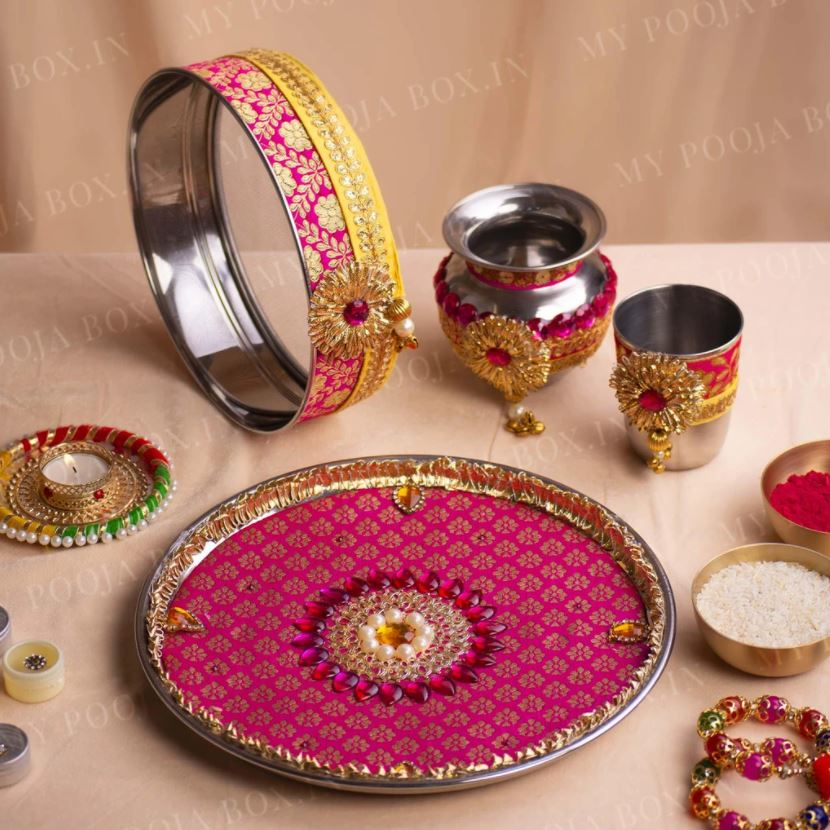 Brocade Pink & Yellow Karwa Chauth Thali Set