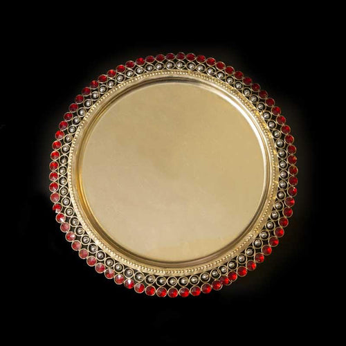 Decorative Red Stone Studded Plate