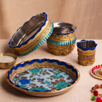 Blissful Blue Flora Karwa Chauth Thali Set