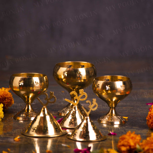 Divine Brass Akhand Jyoti Diya with Swastik Design