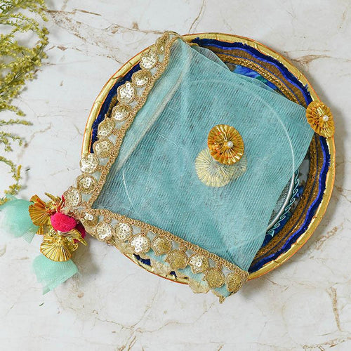 Turquoise Blue Thali Cover