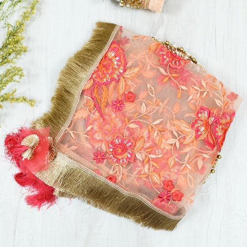 Peach Floral Net Embroidery Thali Cover