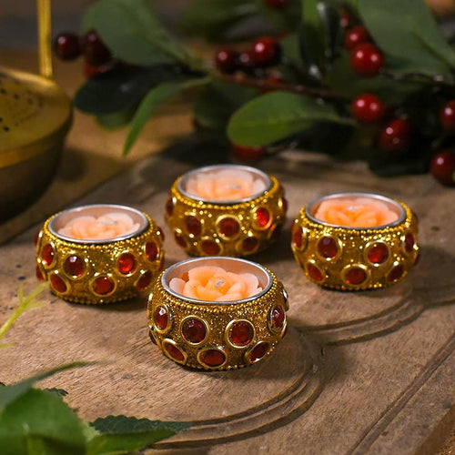 Orange Flower Candle Set