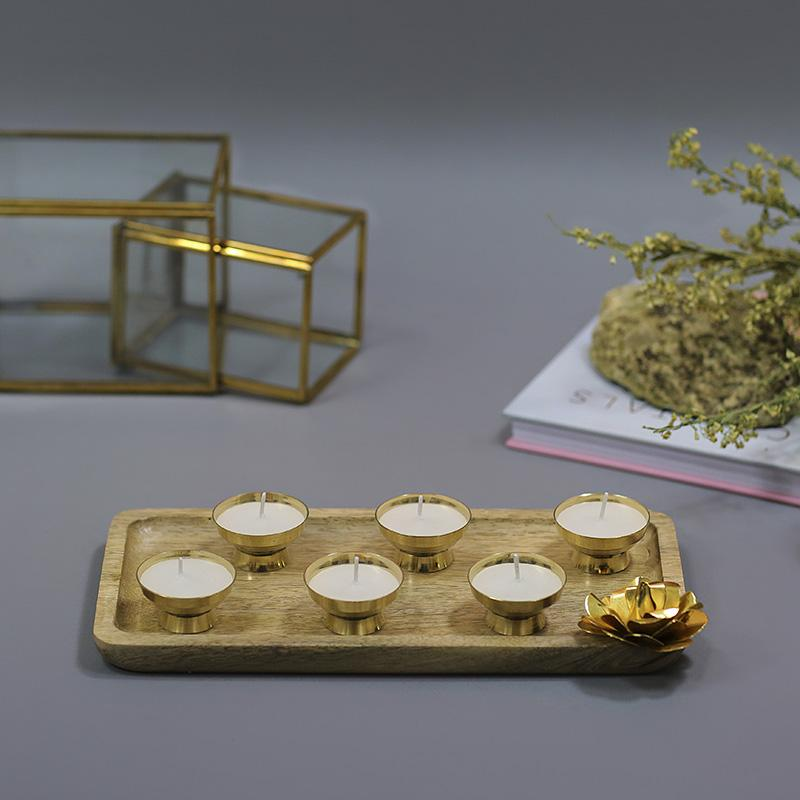 Brass Mini Candle Platter (Set of 6)