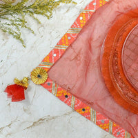 Scarlet Red & Peach Thali Cover