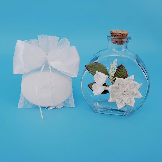 Christening Anointing Oil Bottle & Soap set - With Clay Flower